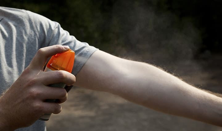 Spraying Mosquito Repellent